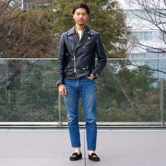 Men's Outfits 2020: This combination of a black leather biker jacket and blue jeans is solid proof that a safe casual outfit doesn't have to be boring. Complete your look with a pair of black embroidered velvet loafers to immediately step up the wow factor of this ensemble.