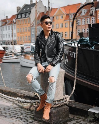 Black Leather Biker Jacket Outfits For Men: Pair a black leather biker jacket with light blue ripped jeans if you're on the hunt for an outfit idea that speaks casual street style style. A trendy pair of tobacco suede chelsea boots is an effective way to breathe a sense of polish into your look.