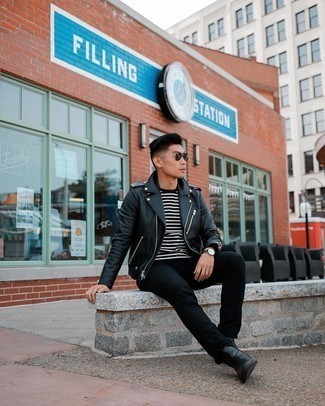 Dark Green Sunglasses Outfits For Men: If you like the comfort look, try pairing a black leather biker jacket with dark green sunglasses. Give a more refined twist to your ensemble by finishing with black leather chelsea boots.
