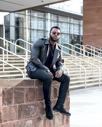 Black Leather Jacket with Black Jeans Outfits For Men: For a cool and relaxed getup, marry a black leather jacket with black jeans — these pieces fit really nice together. Finishing off with a pair of black suede chelsea boots is an easy way to introduce a bit of classiness to your outfit.