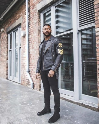 Black Leather Jacket with Black Jeans Outfits For Men: This combo of a black leather jacket and black jeans is beyond stylish and creates instant appeal. Put a different spin on this ensemble by sporting a pair of black suede chelsea boots.