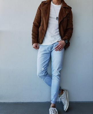 White and Red Leather Low Top Sneakers Relaxed Spring Outfits For Men: To achieve a casual outfit with an edgy take, try pairing a brown suede biker jacket with light blue ripped jeans. A pair of white and red leather low top sneakers will add a different twist to this outfit. The much awaited springtime calls for standout combos just like this one.