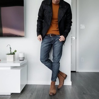 Charcoal Jeans Chill Weather Outfits For Men: For a look that's super simple but can be worn in a myriad of different ways, rock a black leather biker jacket with charcoal jeans. With footwear, go for something on the dressier end of the spectrum and complete your outfit with a pair of brown suede casual boots.