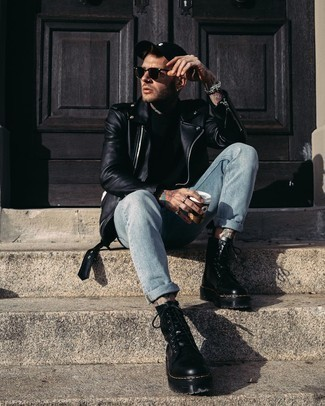 Black Leather Work Boots Warm Weather Outfits For Men: A black leather biker jacket and light blue jeans are an essential pairing for many sartorial-savvy gents. Add black leather work boots to the mix to inject a dash of stylish nonchalance into this outfit.