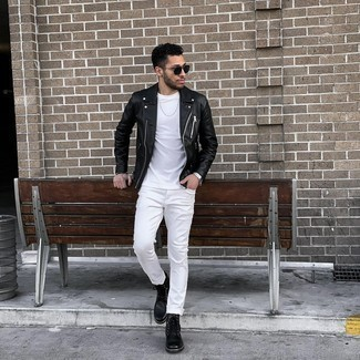 Bracelet Outfits For Men: A black leather biker jacket and a bracelet are great menswear essentials to add to your daily casual collection. Finishing with black leather casual boots is a simple way to bring some extra elegance to this ensemble.