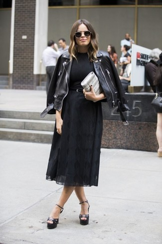 How to wear: black leather biker jacket, black crew-neck t-shirt, black chiffon midi skirt, black leather heeled sandals
