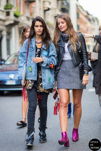 How to wear: black leather biker jacket, grey crew-neck t-shirt, grey tweed mini skirt, purple sequin ankle boots