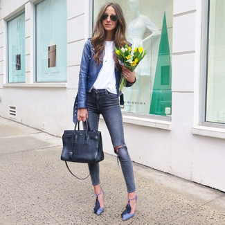 How to wear: blue leather biker jacket, white crew-neck t-shirt, navy ripped skinny jeans, blue leather pumps
