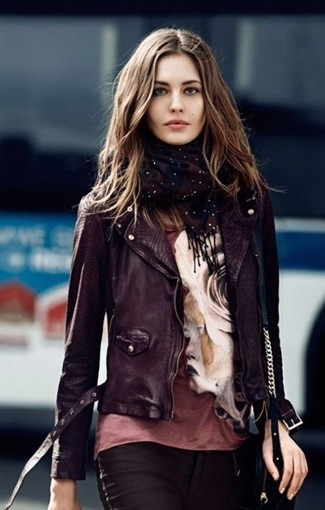 A black leather motorcycle jacket and black slim jeans will give off this very sexy and chic vibe.