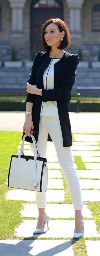 How to wear: black biker jacket, white crew-neck t-shirt, white skinny jeans, light blue leather pumps