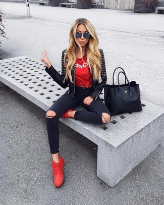 How to Wear a Black Studded Leather Biker Jacket For Women: If you're all about feeling comfortable when it comes to dressing up, this combo of a black studded leather biker jacket and black ripped skinny jeans will totally vibe with you. Introduce a pair of red low top sneakers to your ensemble for maximum style points.
