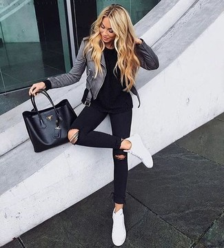 How to wear: grey leather biker jacket, black crew-neck t-shirt, black ripped skinny jeans, white leather low top sneakers