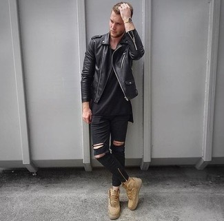 Choose a black leather biker jacket and black ripped skinny jeans for a casual-cool vibe. Play down the casualness of your ensemble with beige high top sneakers. Seeing as it is getting chillier with each day, this ensemble seems a savvy pick for the time in between seasons.