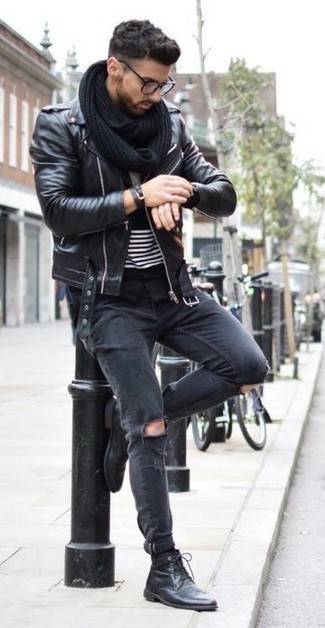 How to wear: black leather biker jacket, black and white horizontal striped crew-neck t-shirt, black ripped skinny jeans, black leather casual boots