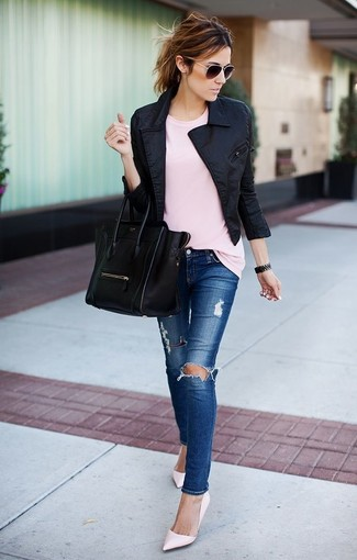 How to wear: black biker jacket, pink crew-neck t-shirt, blue ripped skinny jeans, pink leather pumps