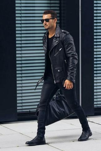 How to wear: black leather biker jacket, black crew-neck t-shirt, black skinny jeans, black leather chelsea boots