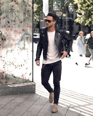 How to wear: black leather biker jacket, white crew-neck t-shirt, black skinny jeans, grey suede chelsea boots
