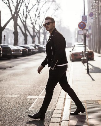 How to wear: black suede biker jacket, white crew-neck t-shirt, black skinny jeans, black leather chelsea boots