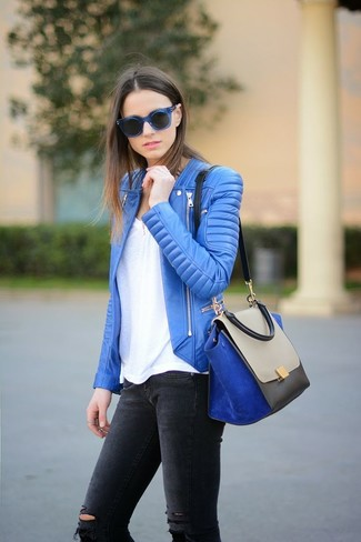 How to wear: blue leather biker jacket, white crew-neck t-shirt, charcoal ripped skinny jeans, blue suede satchel bag