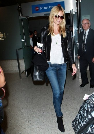 6d53aa0ba2ad ... Heidi Klum wearing Black Leather Biker Jacket