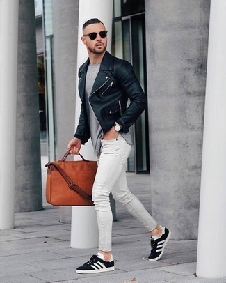 Black Sunglasses Outfits For Men: A black leather biker jacket and black sunglasses are among the fundamental elements in any man's well-coordinated casual sartorial collection. If you wish to immediately up your outfit with footwear, add a pair of black and white canvas low top sneakers to the mix.