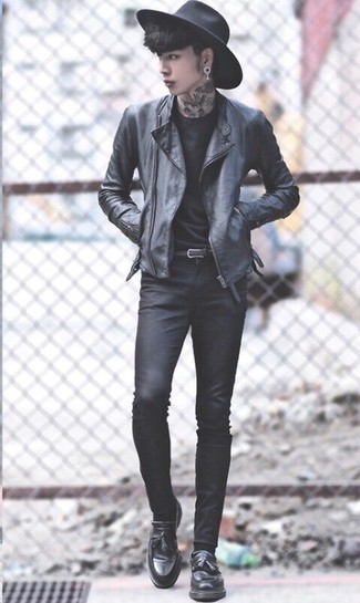 How to wear: black leather biker jacket, black crew-neck t-shirt, black skinny jeans, black leather tassel loafers