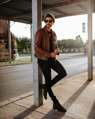 Brown Leather Jacket with Black Pants Outfits For Men: This casual combo of a brown leather jacket and black pants comes in useful when you need to look nice but have no time to craft an outfit. Infuse a hint of sophistication into your getup with a pair of dark brown suede chelsea boots.