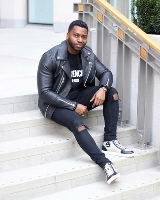 White and Black Leather Shoes with Pants Outfits For Men: This combination of a black leather biker jacket and pants is super versatile and provides instant off-duty cool. To give this outfit a more polished touch, introduce a pair of white and black leather high top sneakers to the equation.