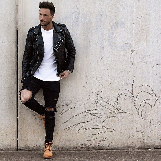 How to Wear a Black Leather Jacket (231 looks) | Men's Fashion