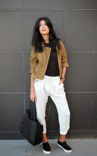 How to wear: brown suede biker jacket, black crew-neck t-shirt, white silk skinny pants, black leather slip-on sneakers