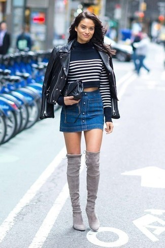 Women's Looks & Outfits: What To Wear In 2020: For an on-trend ensemble without the need to sacrifice on practicality, we turn to this combination of a black leather biker jacket and a blue denim button skirt. Wondering how to finish off? Add grey suede over the knee boots to the equation to boost the style factor.