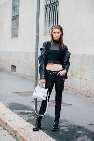 White Leather Handbag Casual Outfits: Reach for a black leather biker jacket and a white leather handbag to feel confident and look absolutely chic. For a truly modern mix, introduce black leather lace-up flat boots to the mix.
