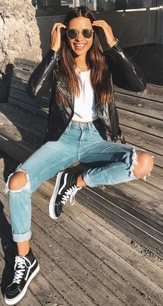 Black Sneakers with Light Blue Jeans Summer Outfits For Women: This pairing of a black leather biker jacket and light blue jeans is definitive proof that a safe casual ensemble can still look really interesting. Black sneakers add a little edge to this ensemble. You know you could wear this outfit throughout the season.