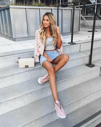 How to wear: pink leather biker jacket, grey cropped top, light blue denim mini skirt, pink leather slip-on sneakers