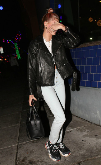 How to wear: black leather biker jacket, white cropped top, white skinny jeans, black athletic shoes