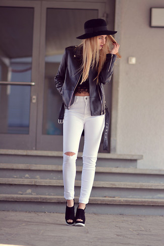 Make a black lace cropped top and white ripped skinny jeans your outfit choice for an effortless kind of elegance. Black suede wedge sandals are a smart choice to complete the look.