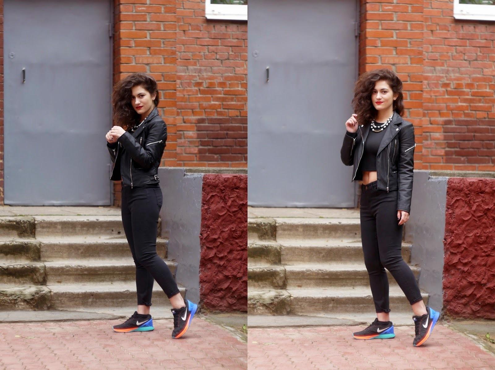 Women's Black Leather Biker Jacket, Black Cropped Top, Black ...