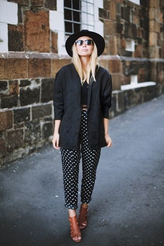 How to wear: black biker jacket, black cropped top, black and white polka dot tapered pants, tobacco leather mules
