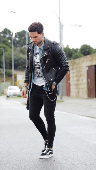 How to wear: black leather biker jacket, light blue denim shirt, white and black print crew-neck t-shirt, black skinny jeans