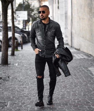 How to Wear a Charcoal Denim Shirt For Men: Try pairing a charcoal denim shirt with black ripped jeans for a laid-back twist on off-duty fashion. Puzzled as to how to finish your look? Finish off with black leather chelsea boots to dial it up a notch.