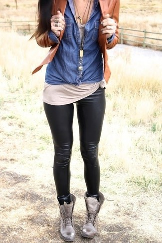 How To Wear a Denim Shirt With Leggings: For a casual outfit, Wear a denim shirt with leggings. Grey leather lace-up flat boots are a smart pick to complete this look.