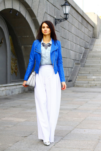 How to wear: blue leather biker jacket, light blue denim shirt, white wide leg pants, silver leather pumps