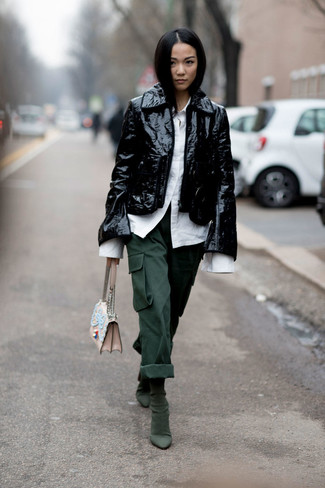 Choose a black leather moto jacket and dark green cargo pants for a comfy-casual look. Got bored with this getup? Enter dark green suede ankle boots to switch things up. With the departure of snow come warmer days and more sunlight and the need for a #{cool} ensemble just like this one.