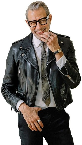How to wear: black leather biker jacket, white dress shirt, black chinos, grey print tie