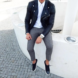How to wear: black leather biker jacket, white dress shirt, grey wool chinos, black suede low top sneakers