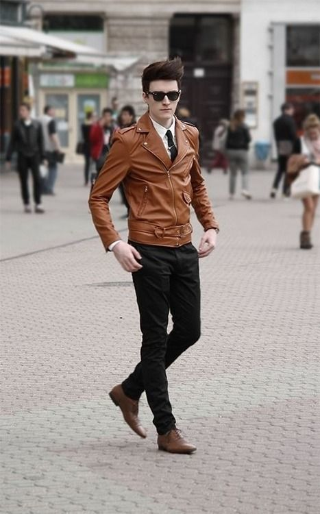 Men's Tobacco Leather Biker Jacket, White Dress Shirt, Black ...