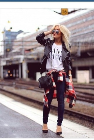 Women's Black Leather Biker Jacket, White and Red and Navy Plaid Dress Shirt, White and Black Print Crew-neck T-shirt, Black Suede Pumps