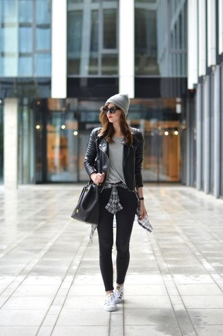 How to wear: black quilted leather biker jacket, grey plaid dress shirt, grey crew-neck t-shirt, black leggings