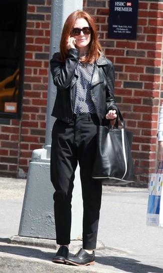 Julianne Moore wearing Black Leather Biker Jacket, Navy and White Polka Dot Dress Shirt, Black Dress Pants, Black Leather Oxford Shoes