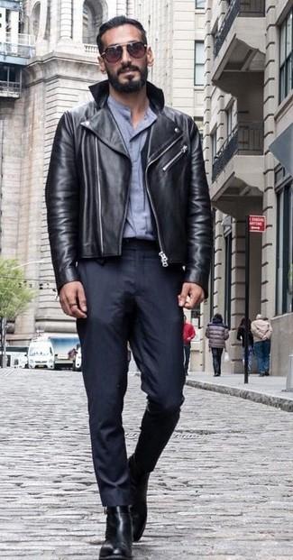 How to wear: black leather biker jacket, grey dress shirt, black dress pants, black leather chelsea boots